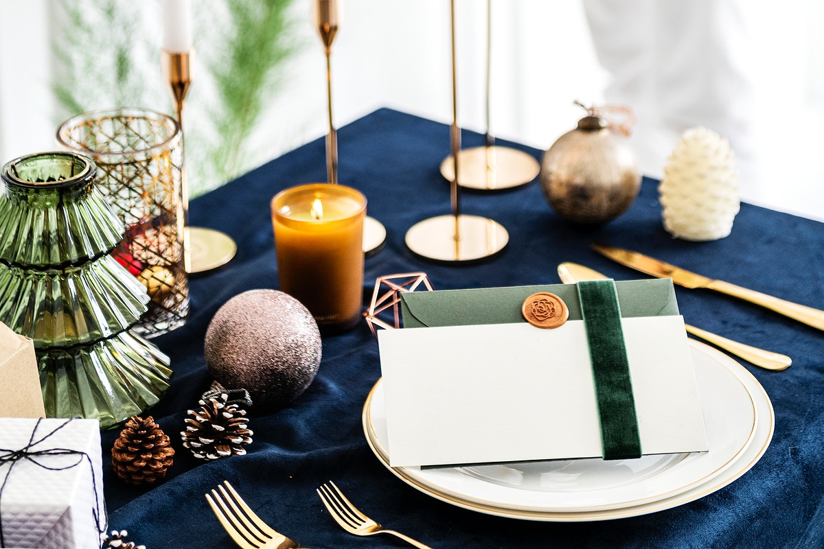 Closeup of a Christmas dining table setting