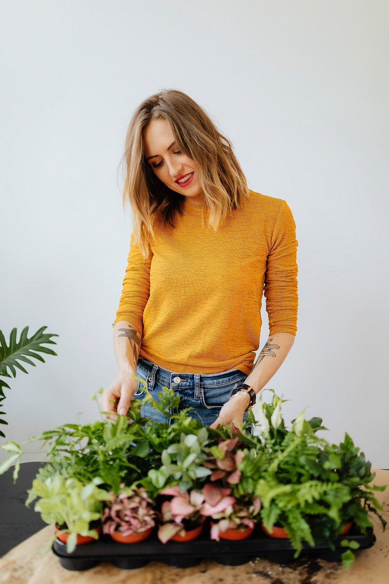 Woman with her small garden