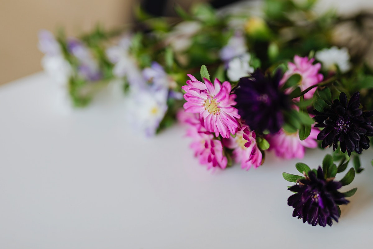 Closeup of pink and purple flowers