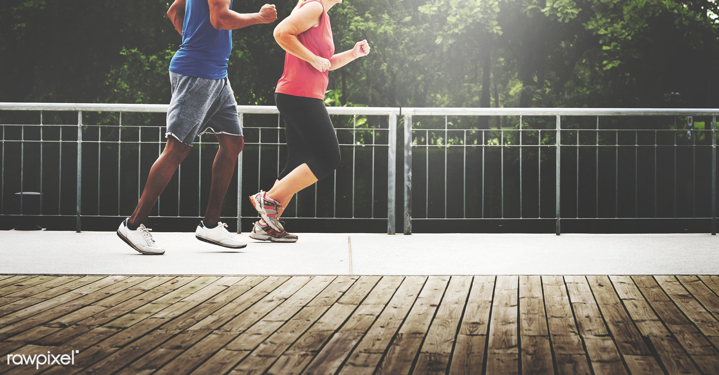 Couple jogging together in the park - jogging, active, activity, app, application, athlete, blue, body building, cardio,...
