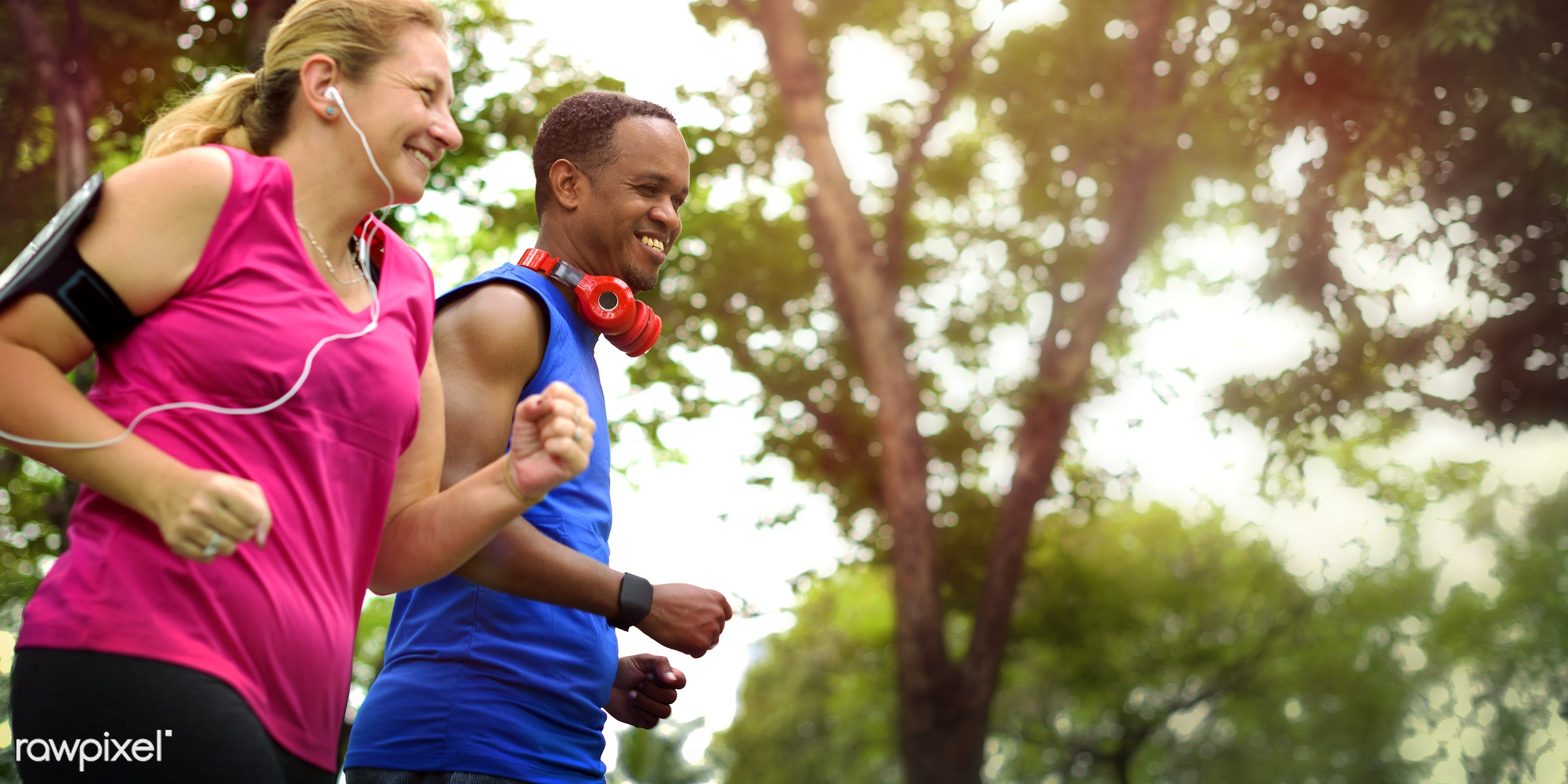 Couple running together at a park - active, activity, app, application, athlete, body building, cardio, cheerful, chubby,...