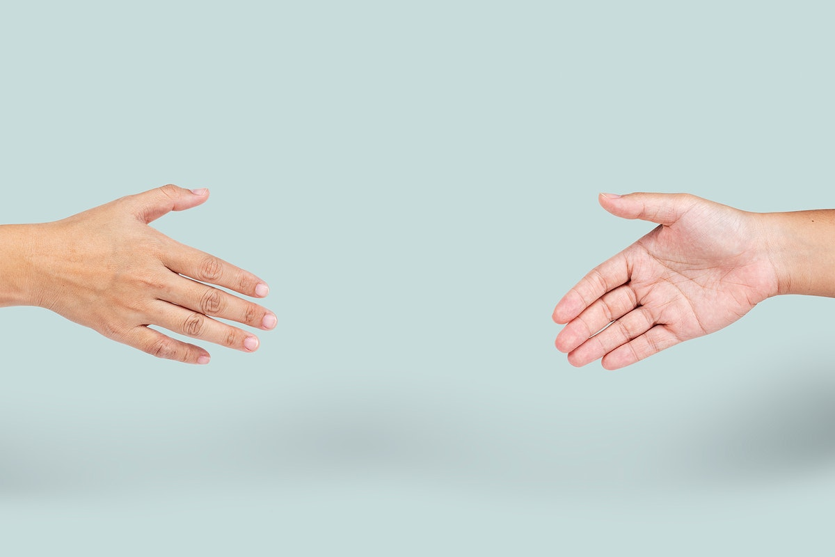 Hands with a social distancing during coronavirus pandemic mockup