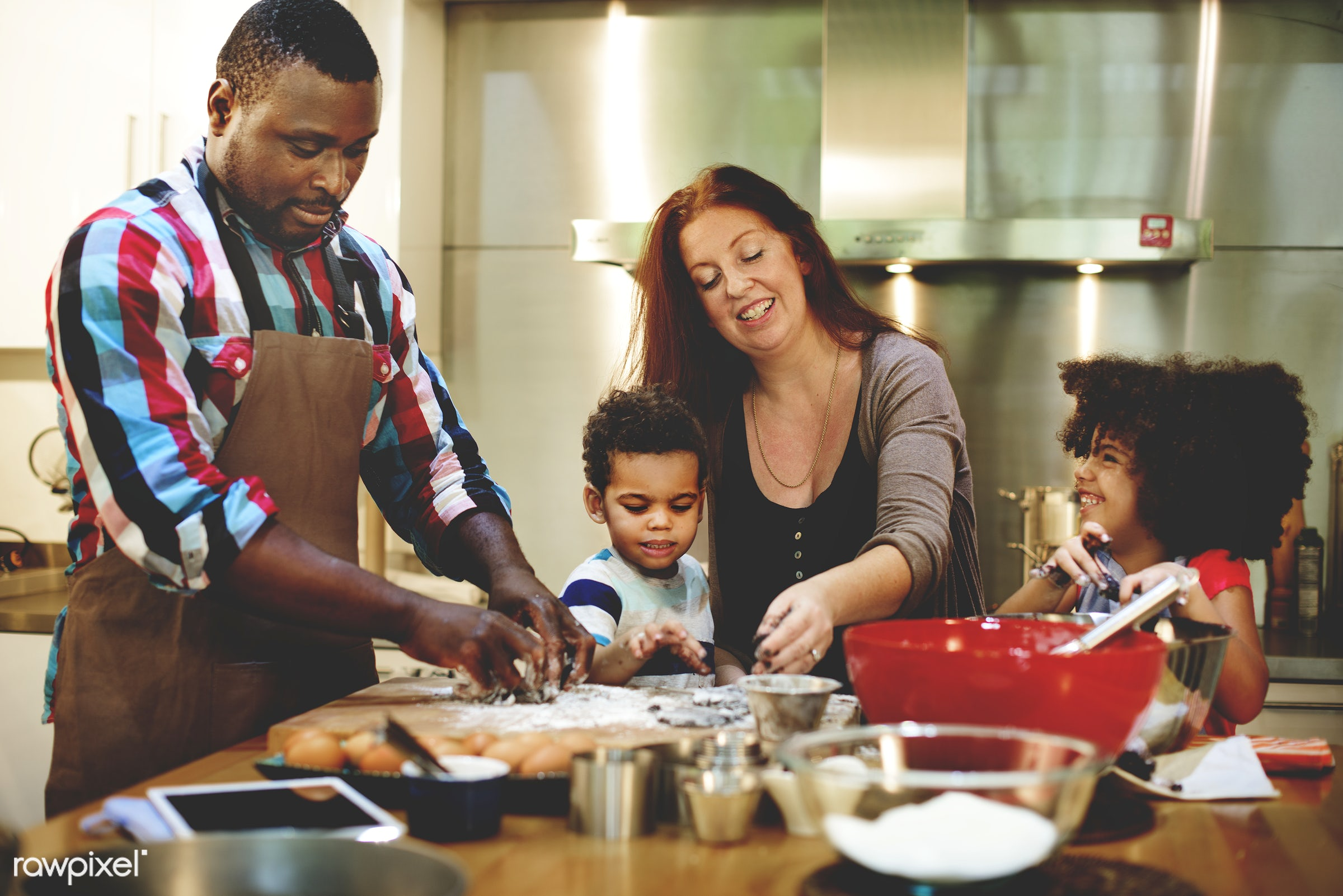 Interracial family in the kitchen - african, black, african american, mixed race, family, happiness, together, love, home,...