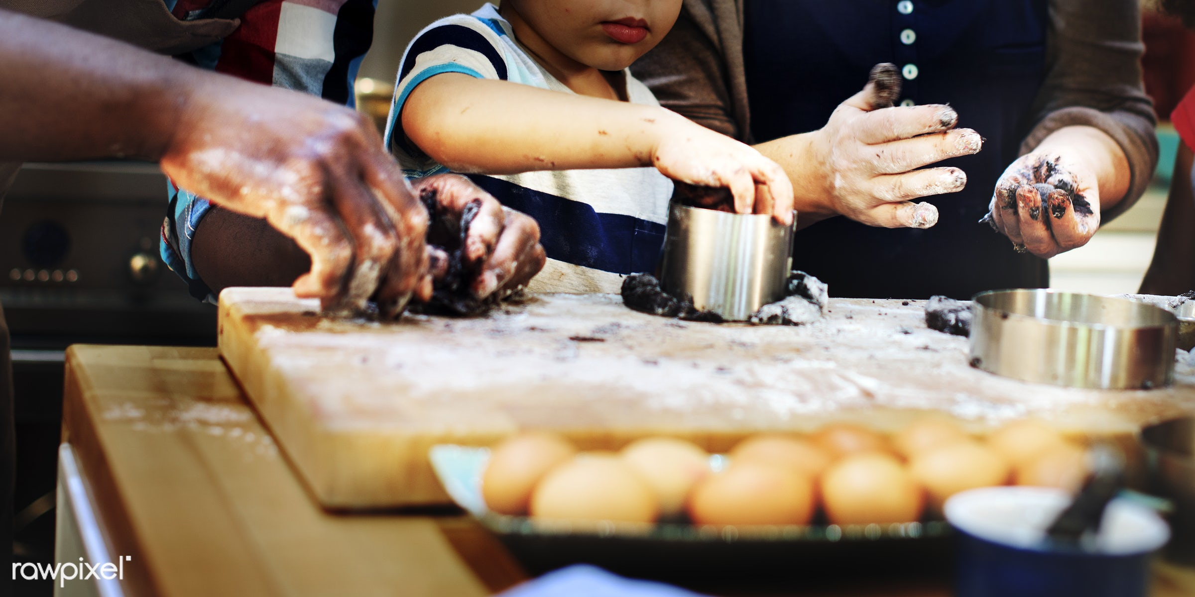 Messy kitchen with a happy family - african, black, african american, mixed race, family, happiness, together, love, home,...