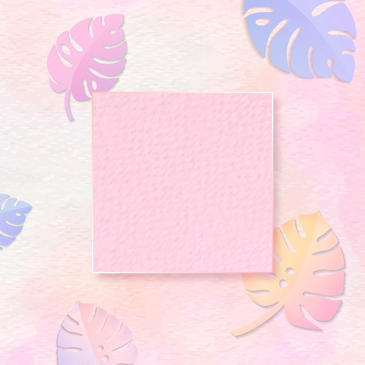 Blank frame on pastel monstera patterned background vector