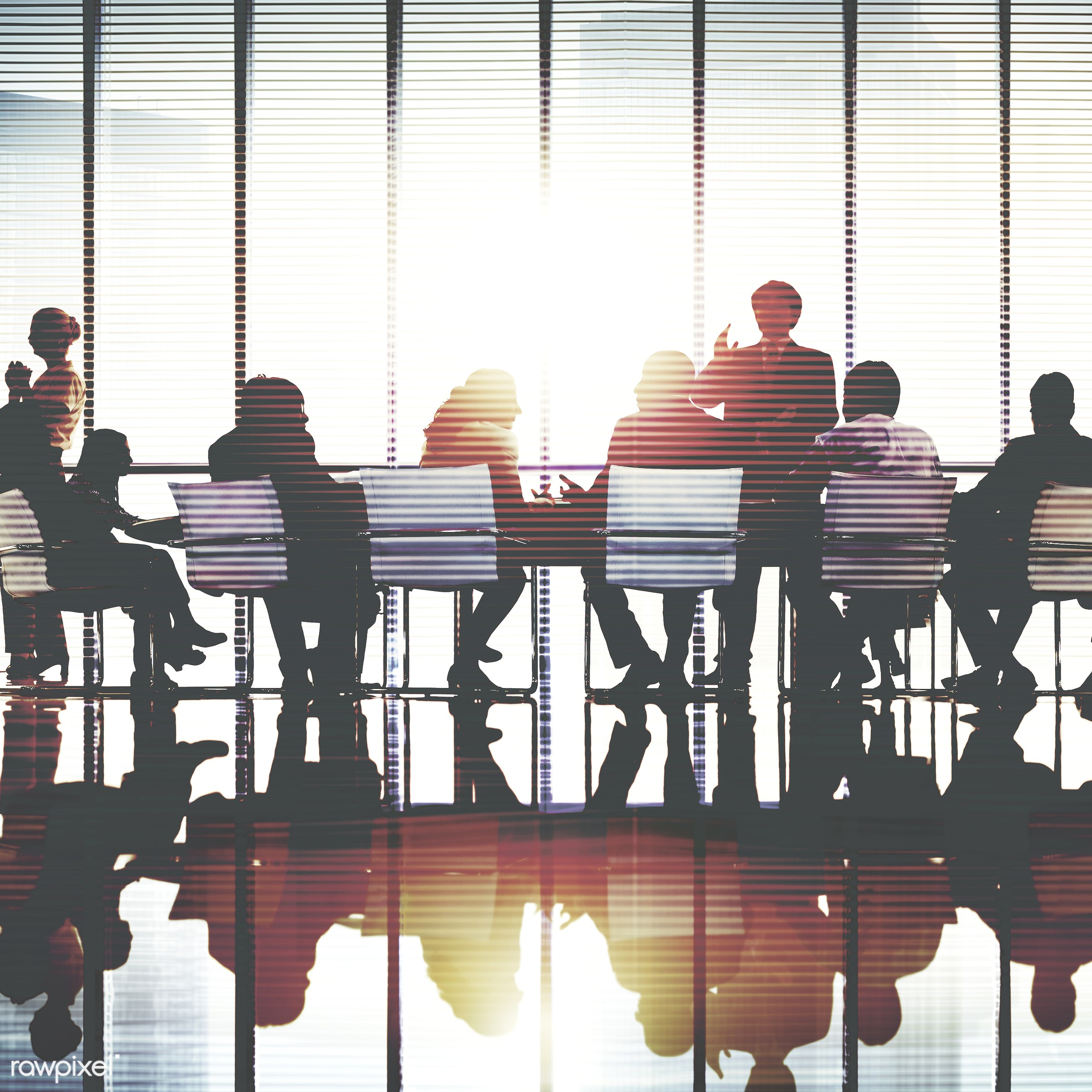 Business people in a board meeting - meeting, discussion, speaker, seminar, board room, presentation, backlit, business,...