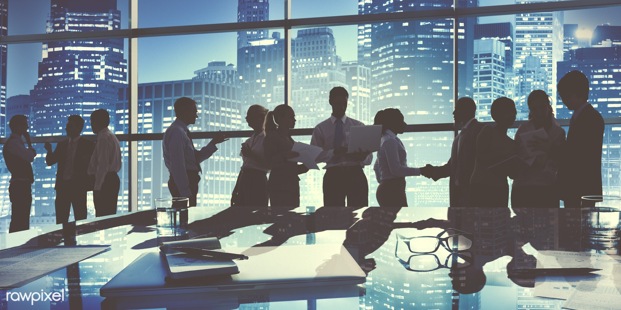 Business people in a board meeting - backlit, board room, building, business, business people, business person, businessman...