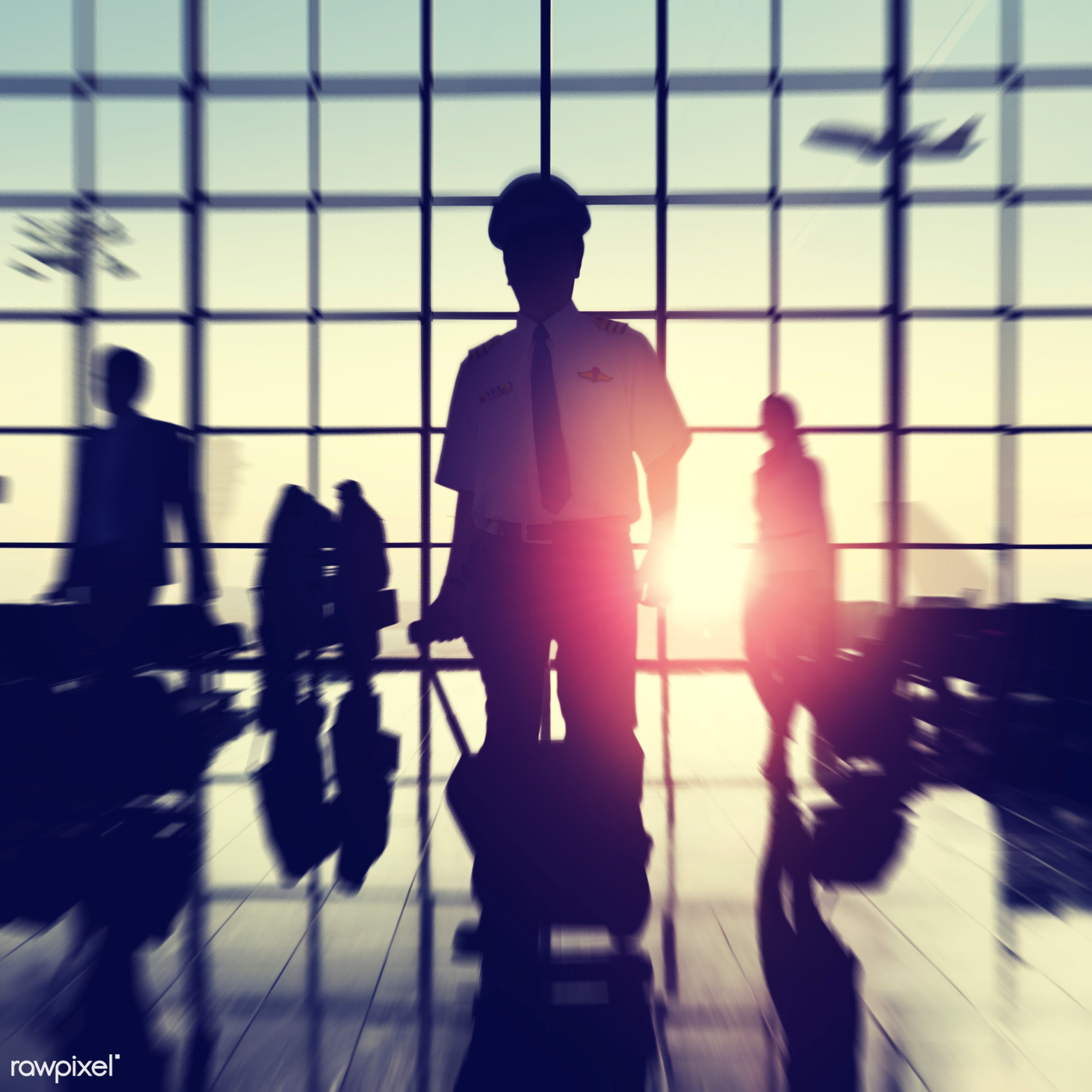 Corporate business travel - airline, airplane, airport, backlit, building, business, business people, business travel,...