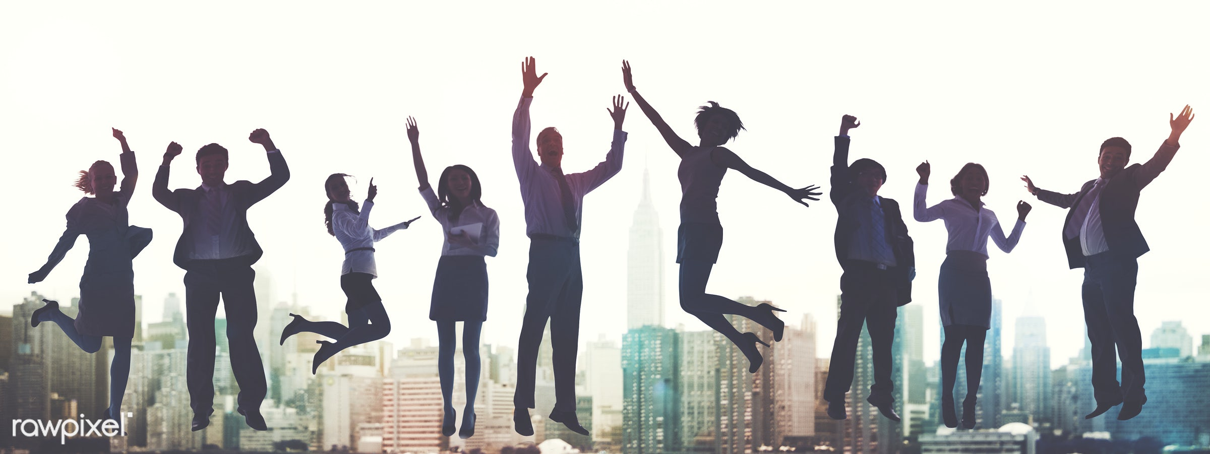 Business people jumping and celebrating - achievement, arms raised, building, business, business people, businessmen,...