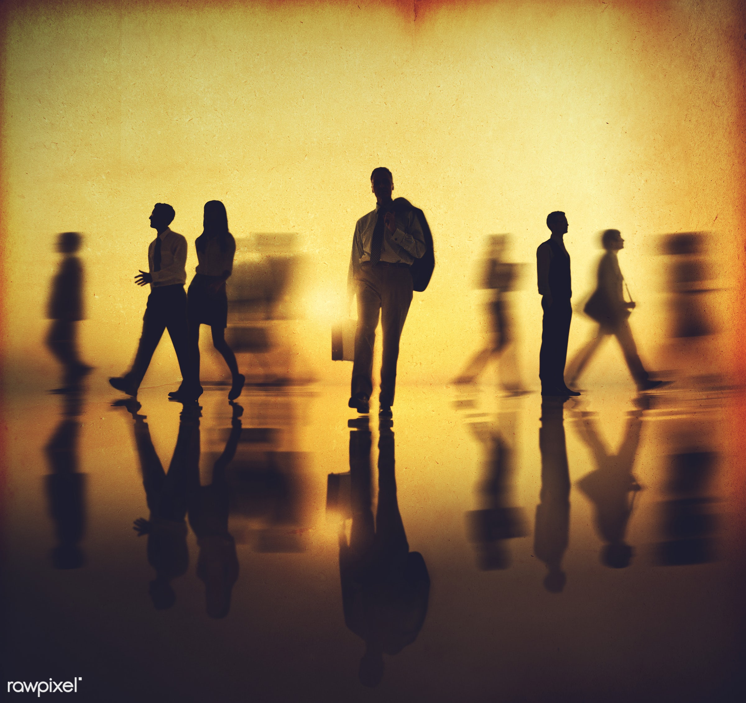 Busy business people walking - office, blurred motion, employment, african descent, antique, backlit, business, business...