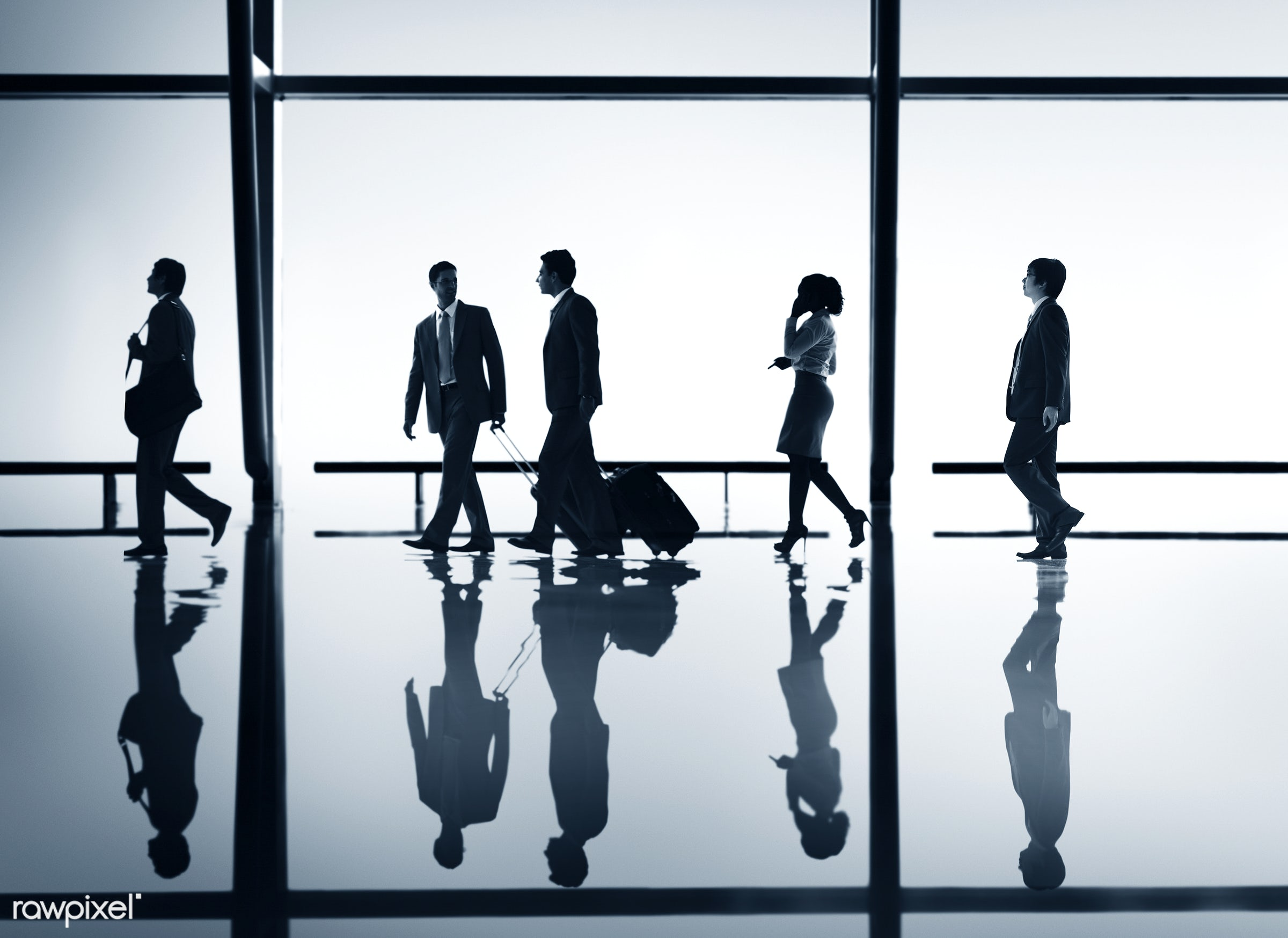 Corporate business travel - people, airport, luggage, airline, backlit, blue, business, business people, business travel,...