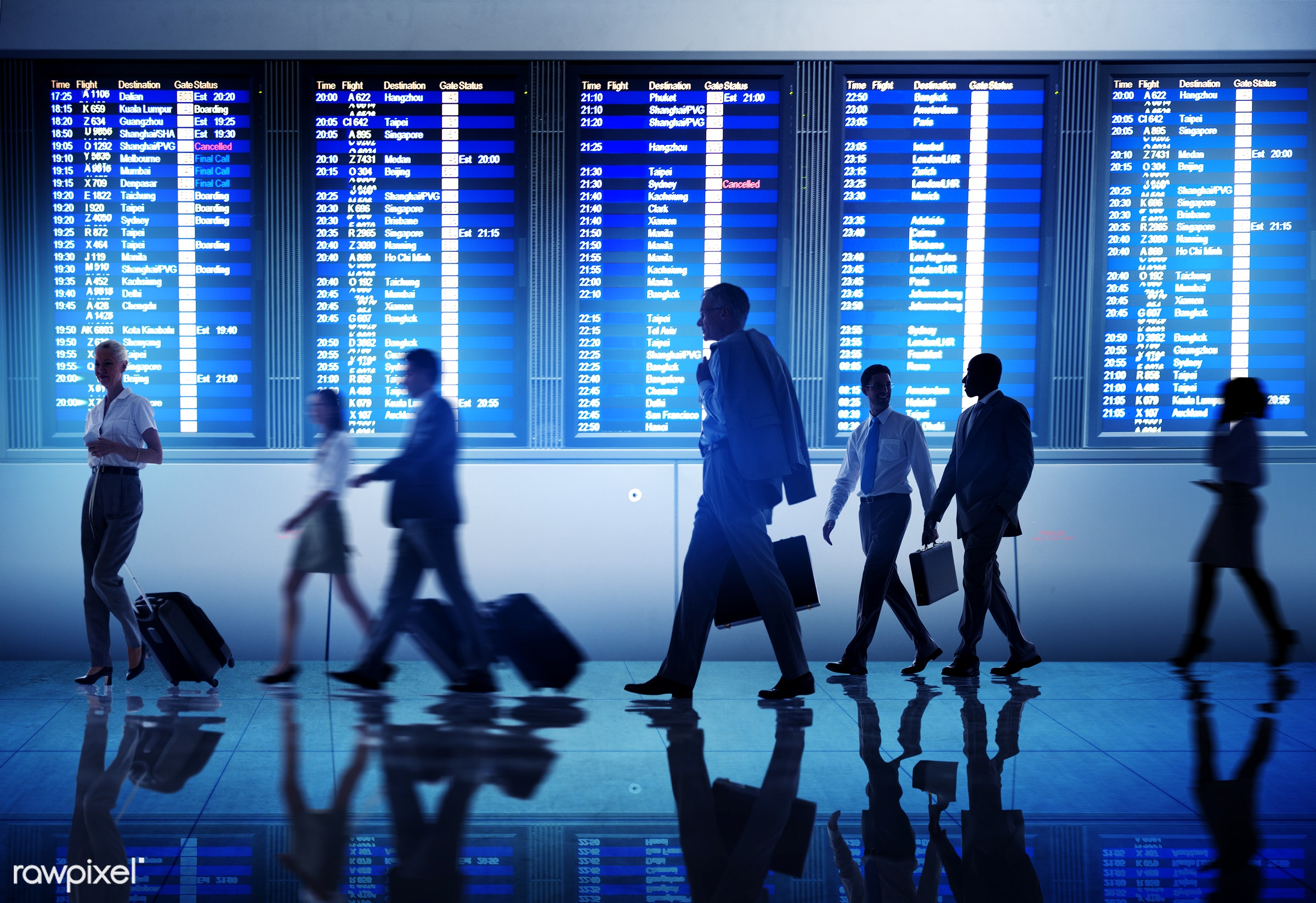 Corporate business travel - airport, business travel, airline, business people, businessmen, corporate, flight, gate,...