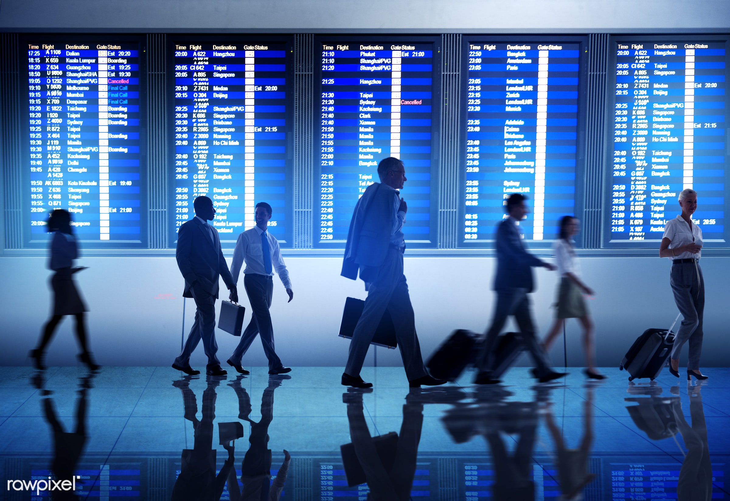 Silhouette of business people in an airport - airline, airplane, airport, arrival, board, boarding, business, business...