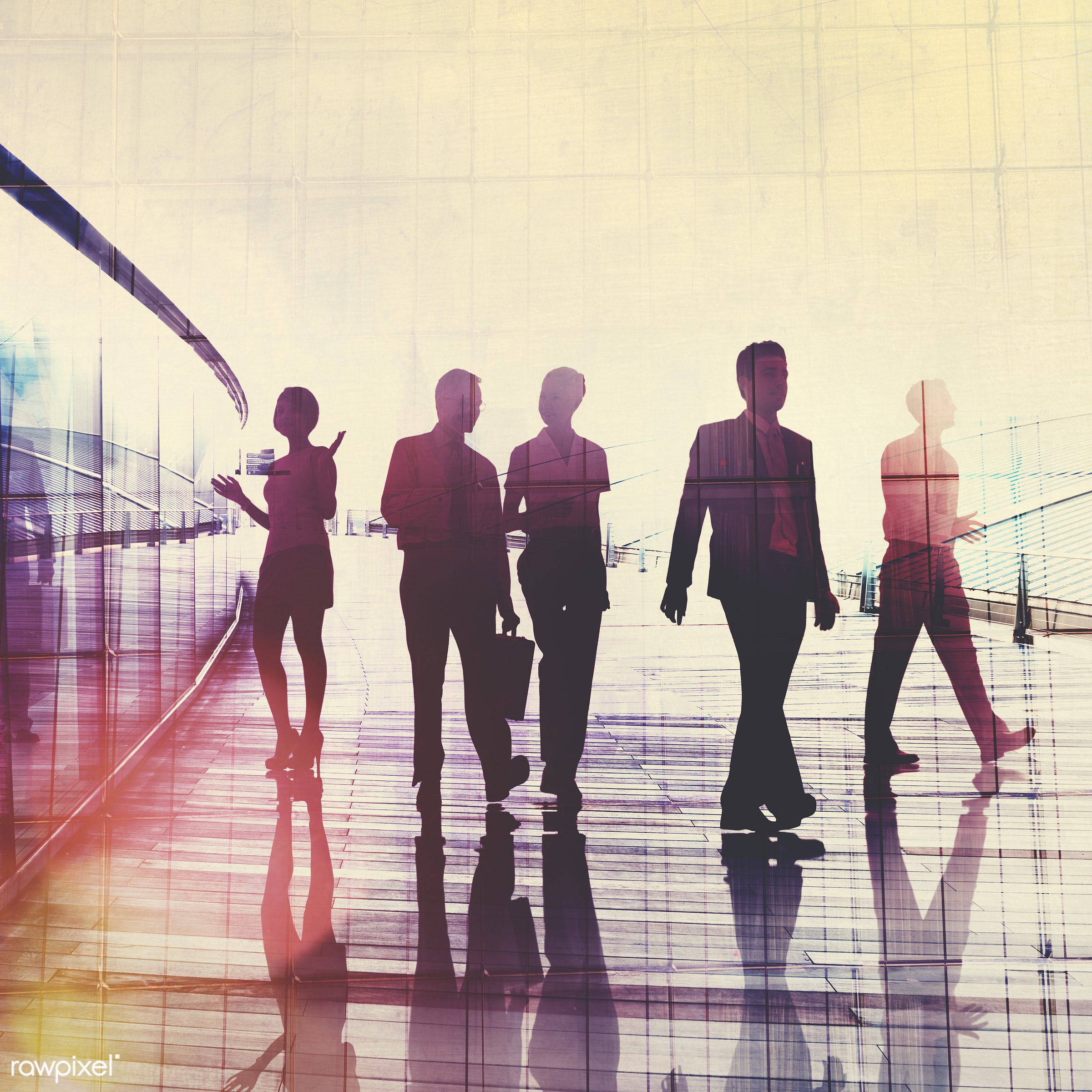 backlit, break, briefcase, building, business, business people, businessmen, businesswomen, busy, city, colleague,...