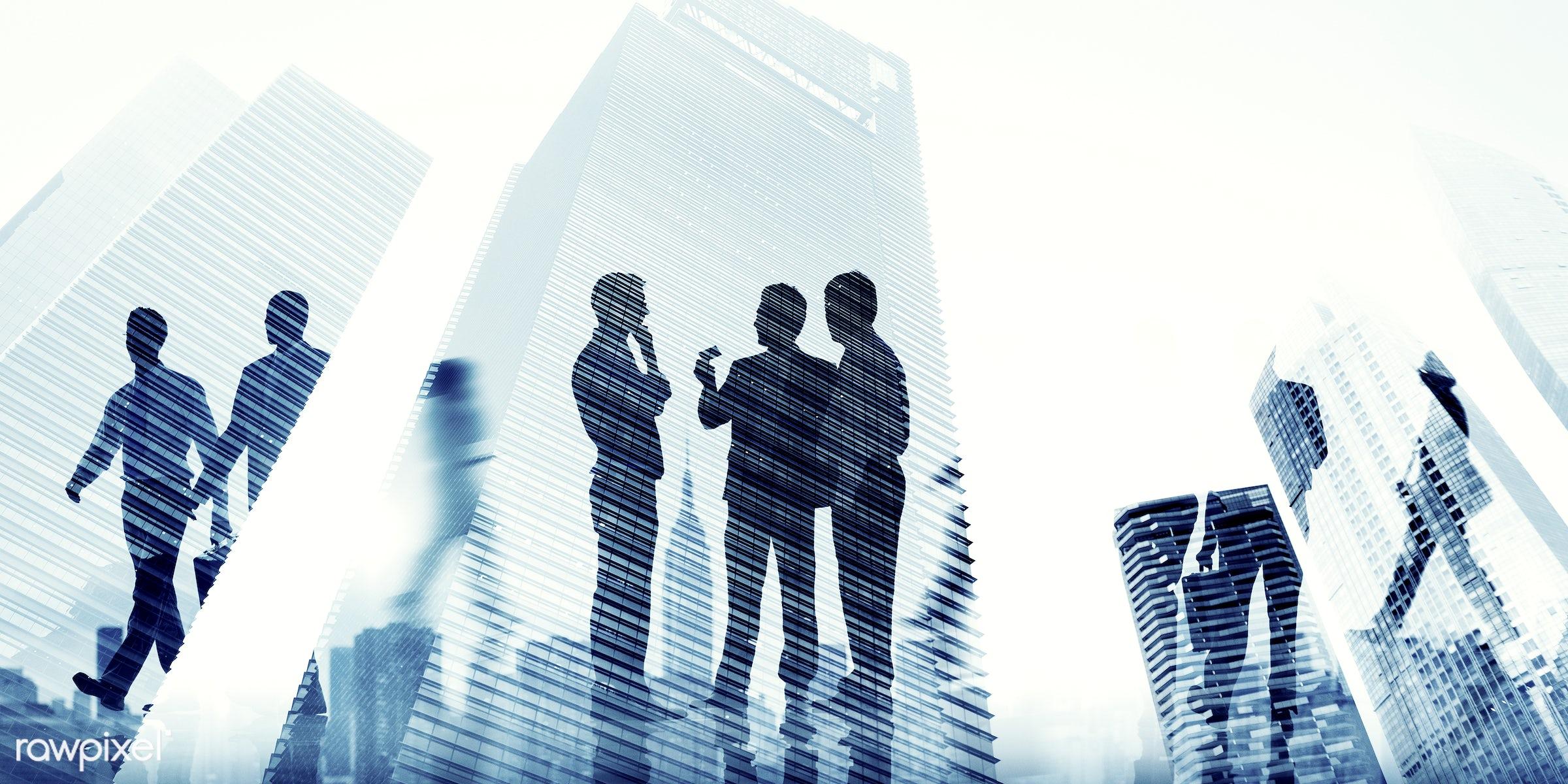 Large group of business people - skyscraper, cityscape, partnership, achievement, aim, architecture, backlit, building,...