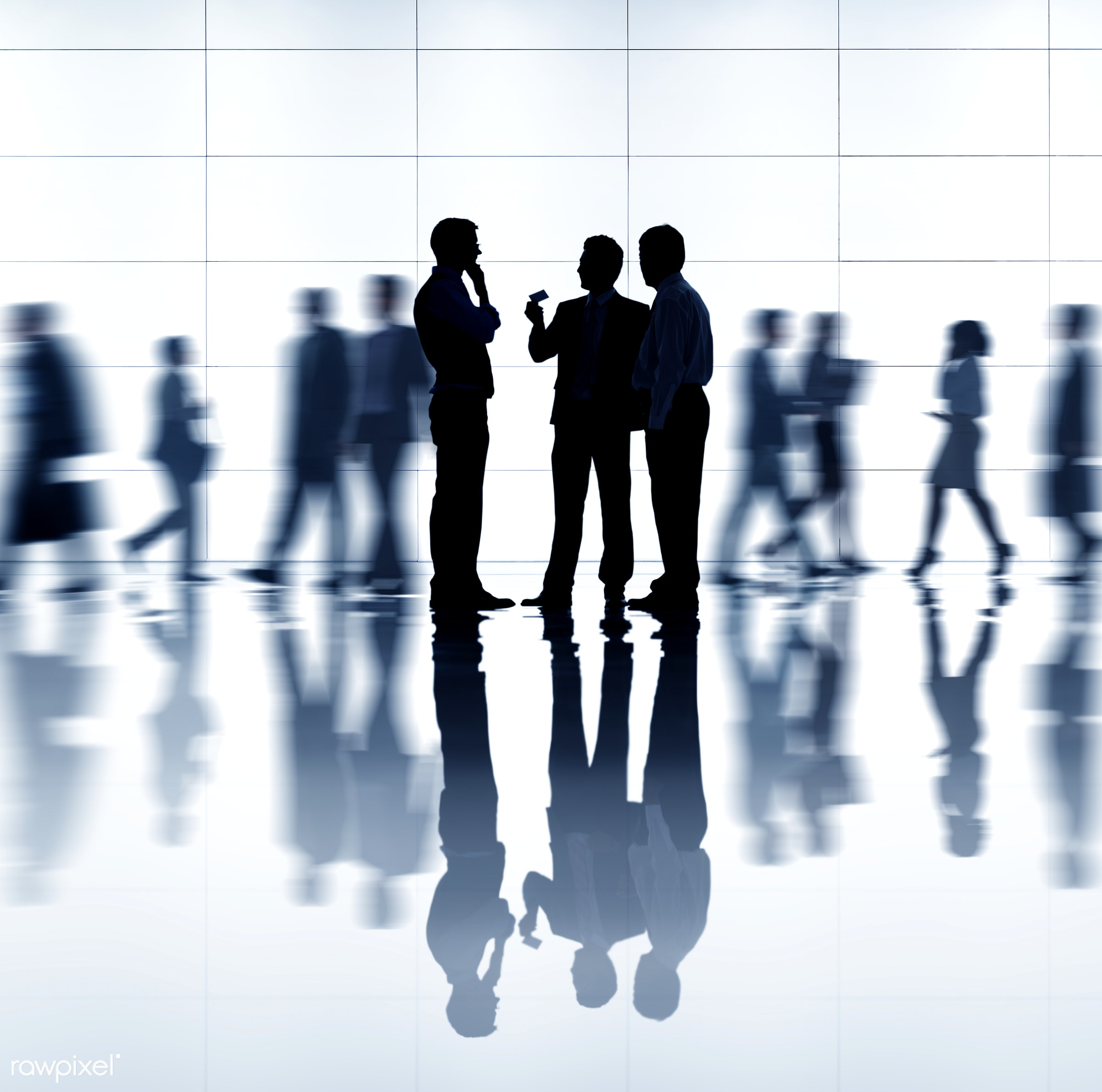 Busy business people walking - technology, adult, advice, blurred motion, brainstorming, business, business meeting,...