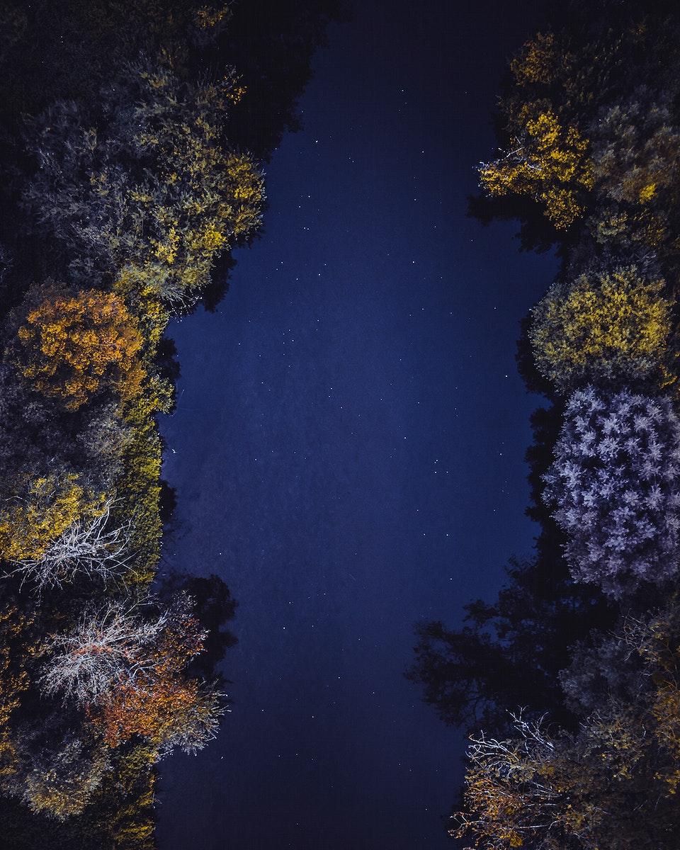 Aerial view of a dark lake in Vaihingen an der Enz, Germany