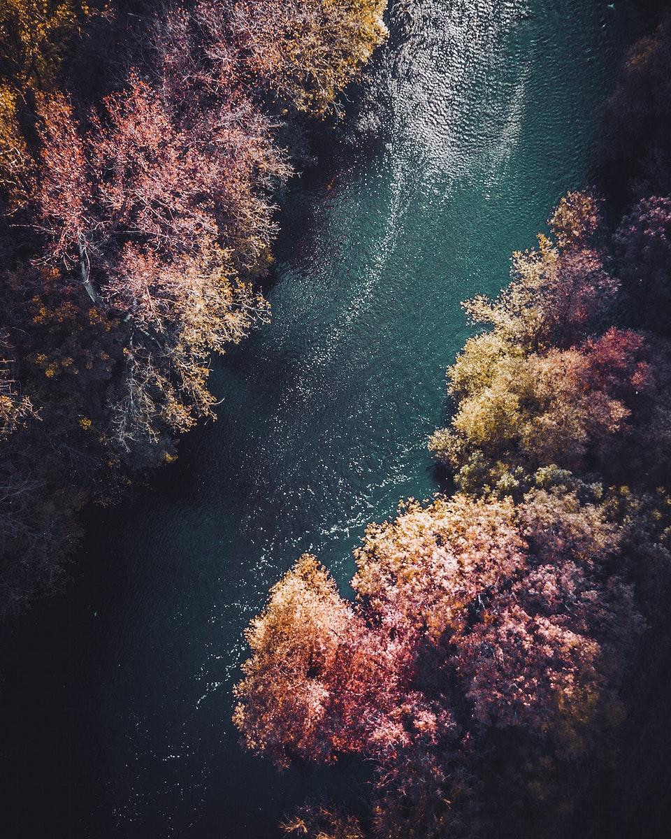 Aerial view of a river flowing through Vaihingen an der Enz, Germany