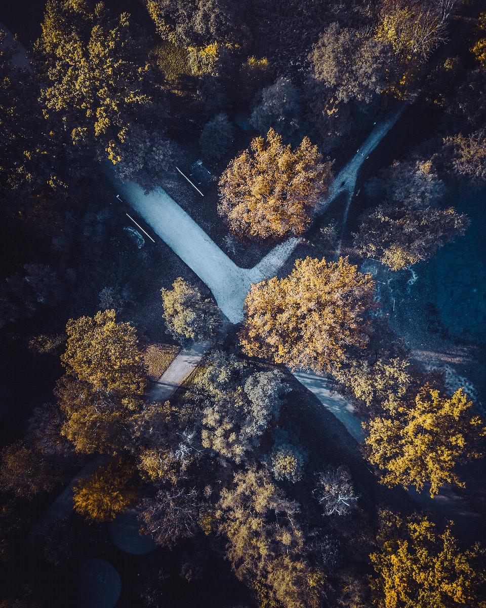 Aerial view of crossroads in Nuremberg, Germany