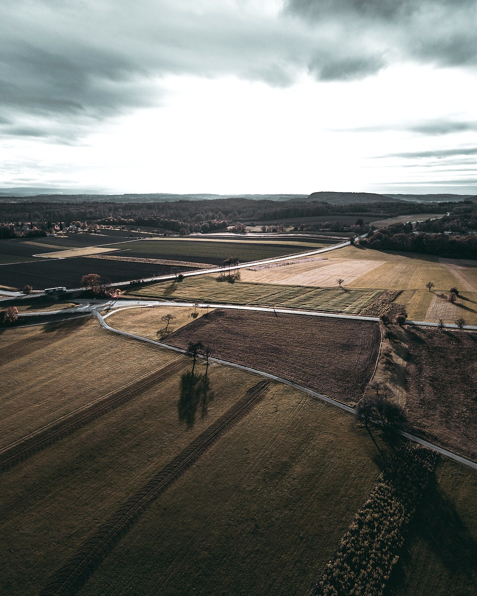 Aerial view of fields in Maulbronn, Germany