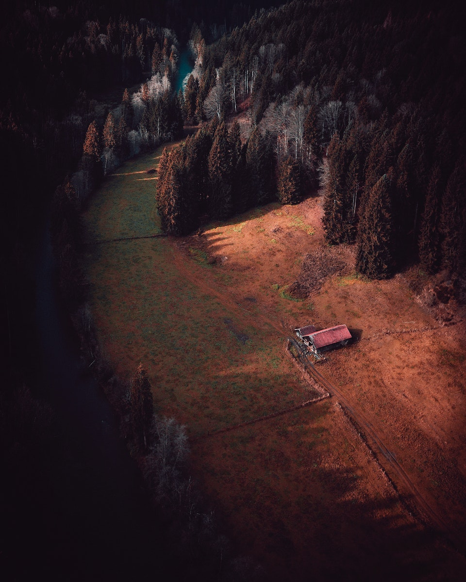 Aerial view of a shed in Wald, Bayern, Germany