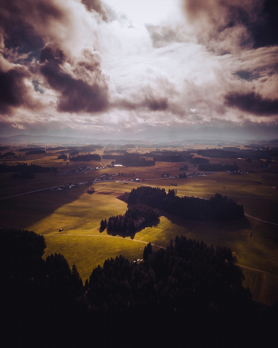 Aerial view of Wald, Bayern, Germany