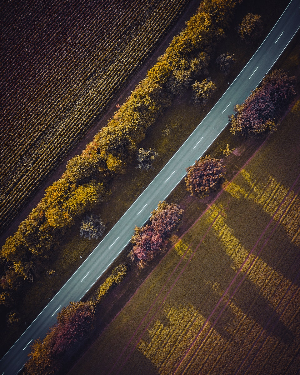 Aerial view of a road through Vaihingen an der Enz, Germany