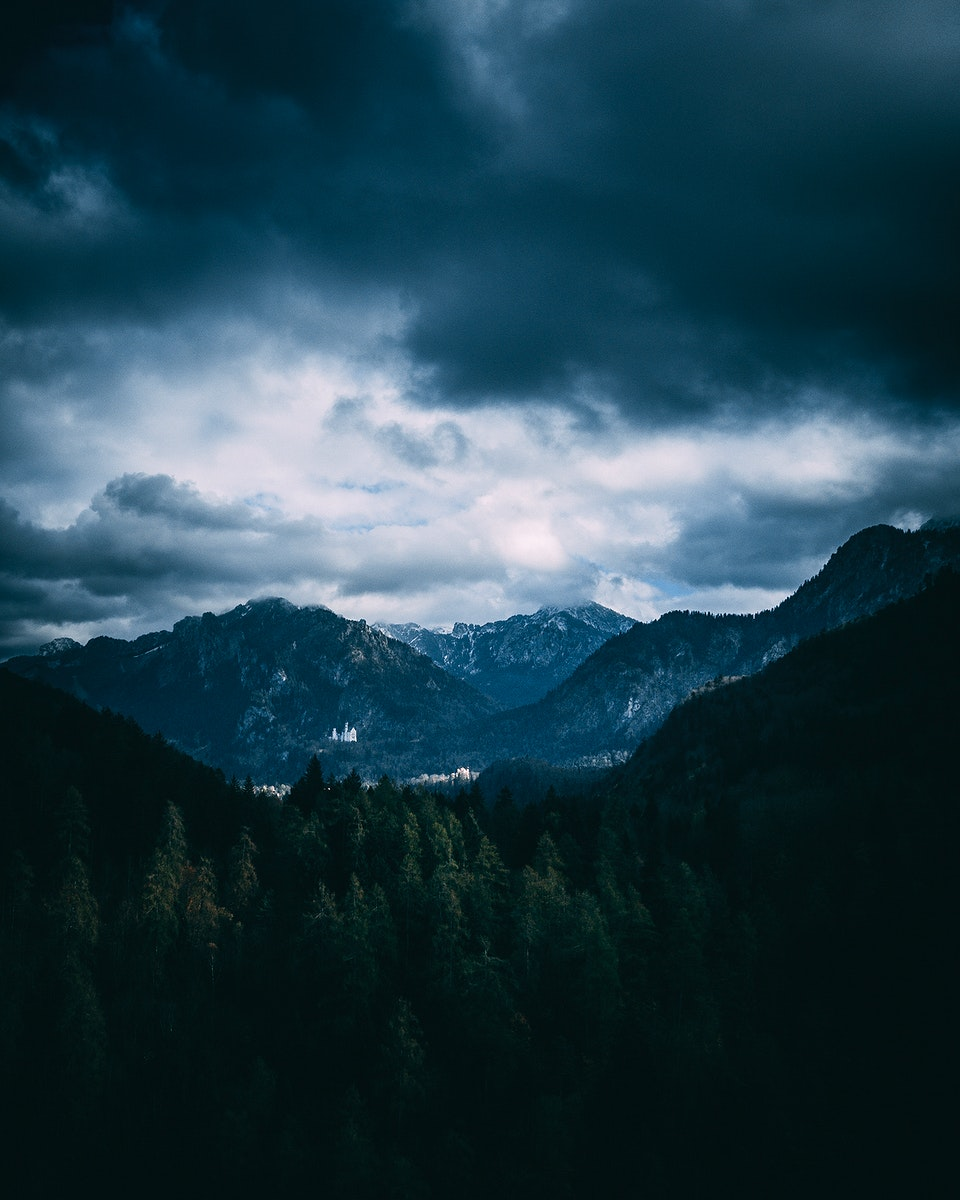 View of the alps in Schwangau, Bavaria, Germany