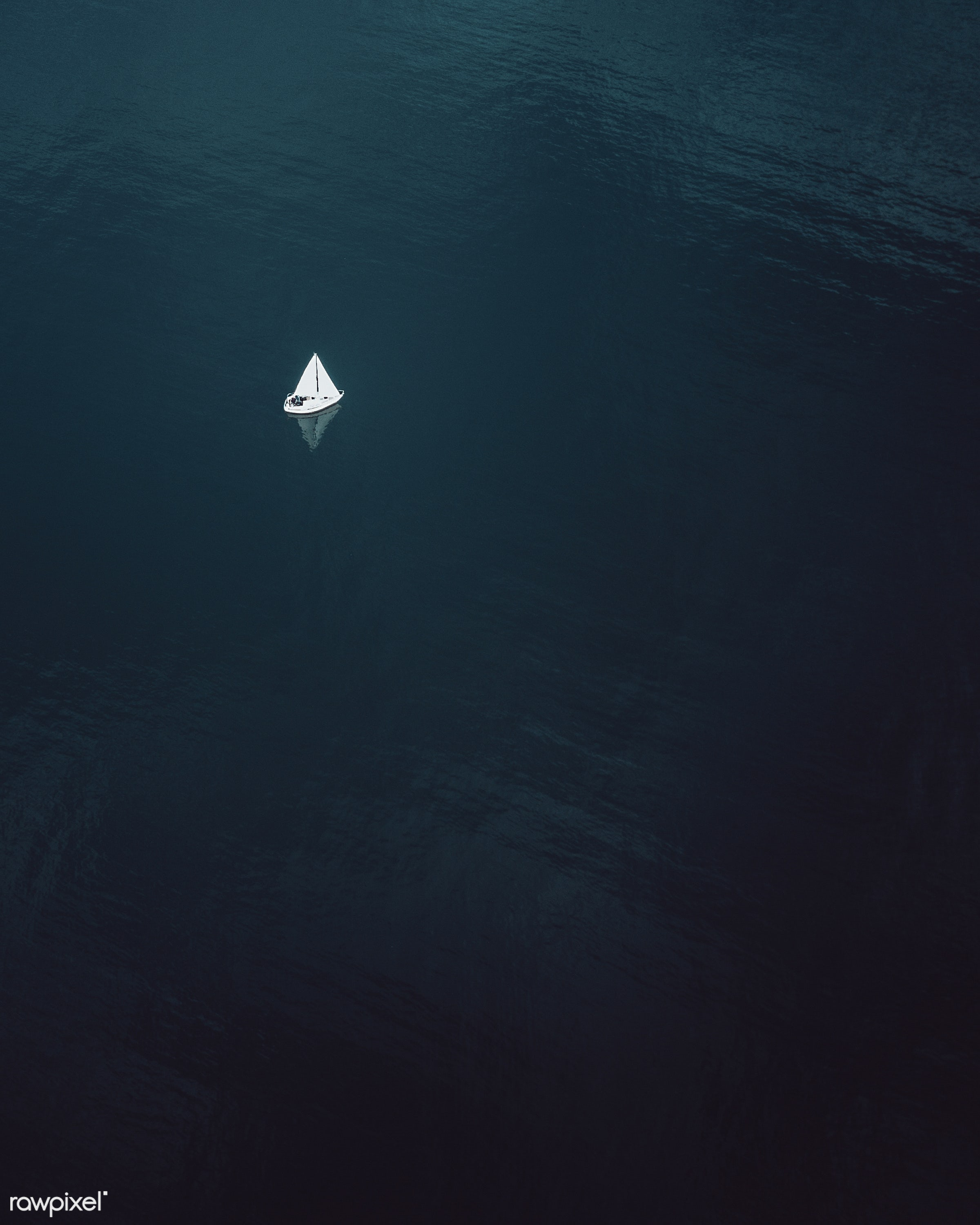 Sailboat on Lake Constance, Germany - activity, aerial, aerial view, background, boat, boating, bodensee, cloudy, dark,...
