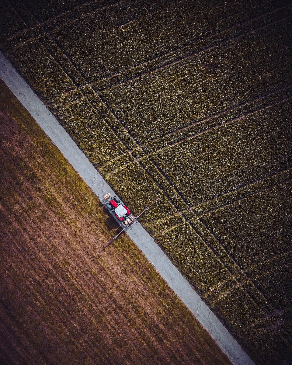 Aerial view of fields in Ölbronn-Dürrn, Germany