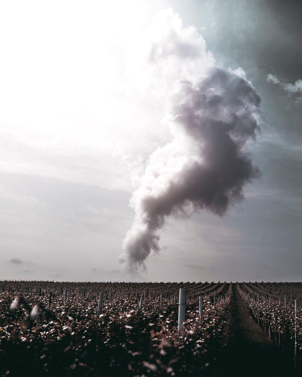 Cloud over fields in Lauffen Am Neckar, Baden-Wurttemberg, Germany