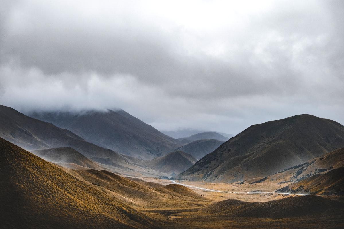 Mountain range on the South Island, New Zealand