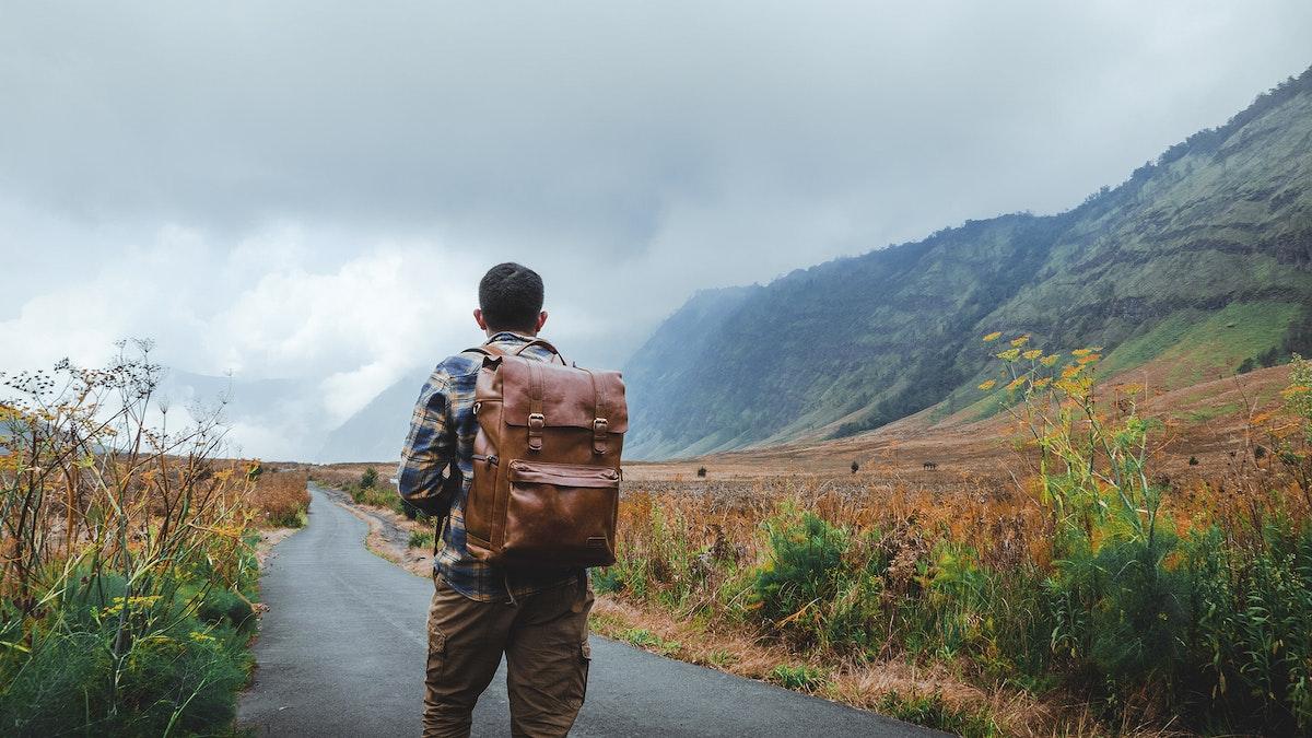 Traveler in Bromo Tengger Semeru National Park, Indonesia