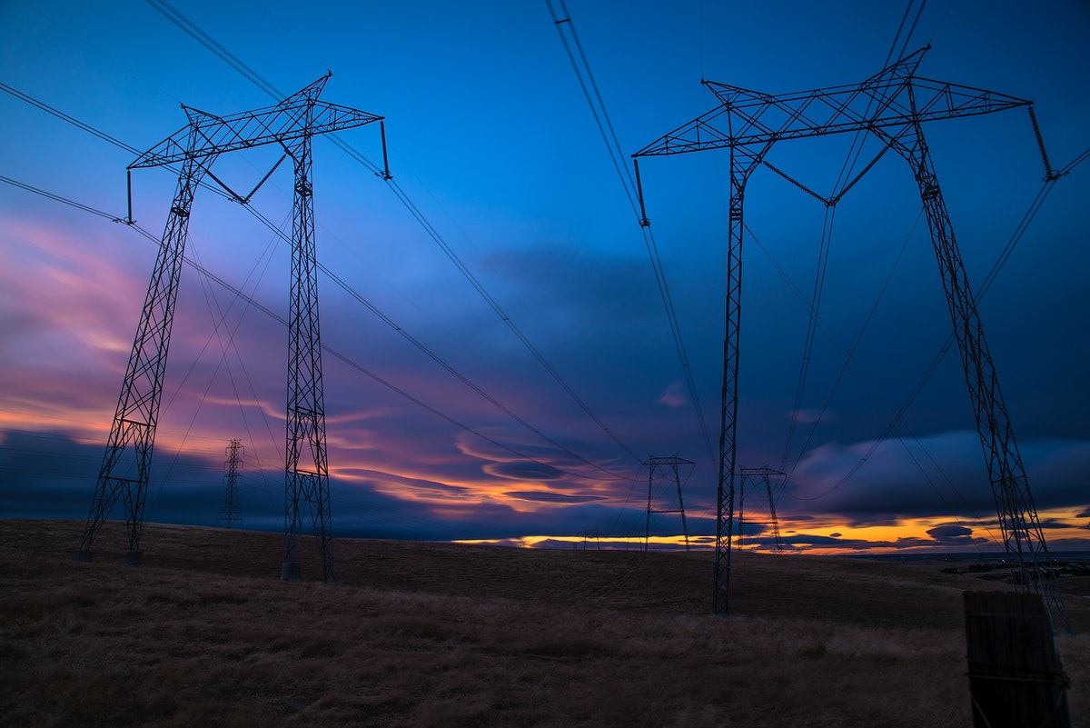 High voltage poles in Tracy, California, United States