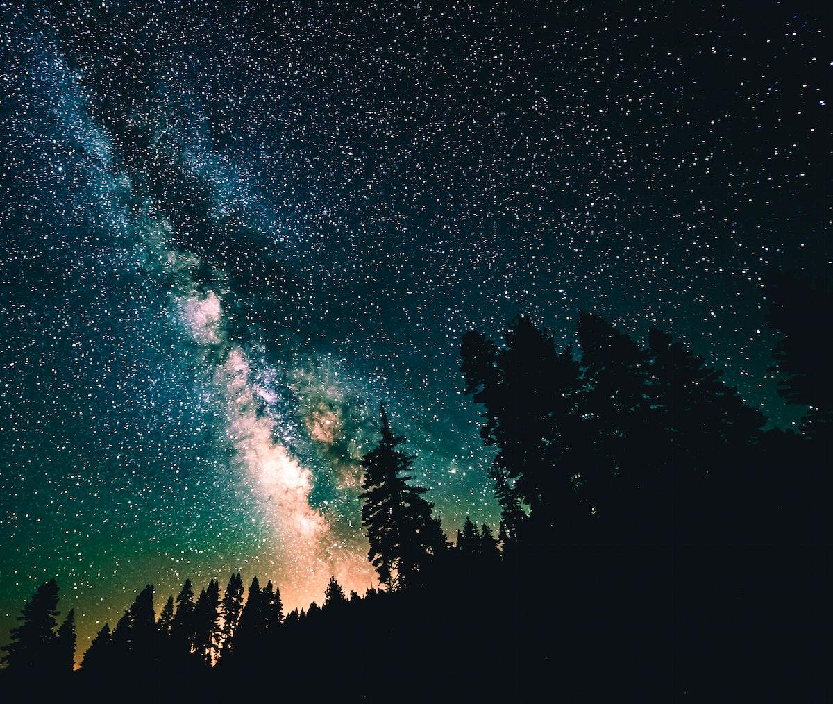 The Milky Way across the night sky in Yosemite Valley California, USA