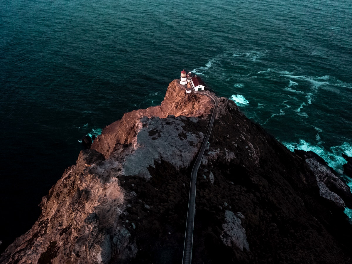 Point Reyes lighthouse on top of a cliff