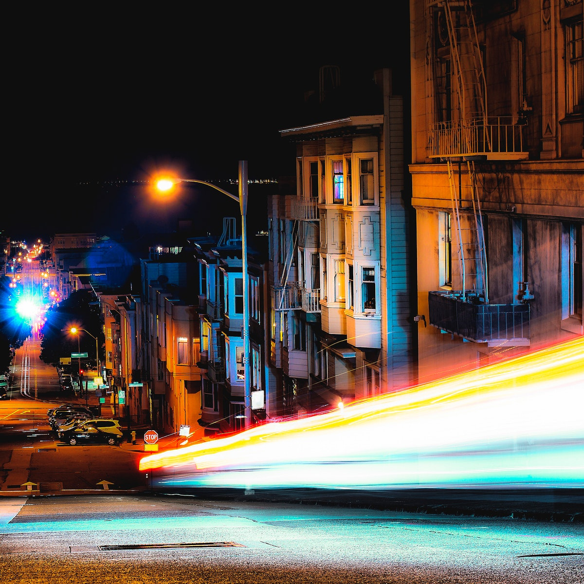 Long exposure scene of a vehicle light tail