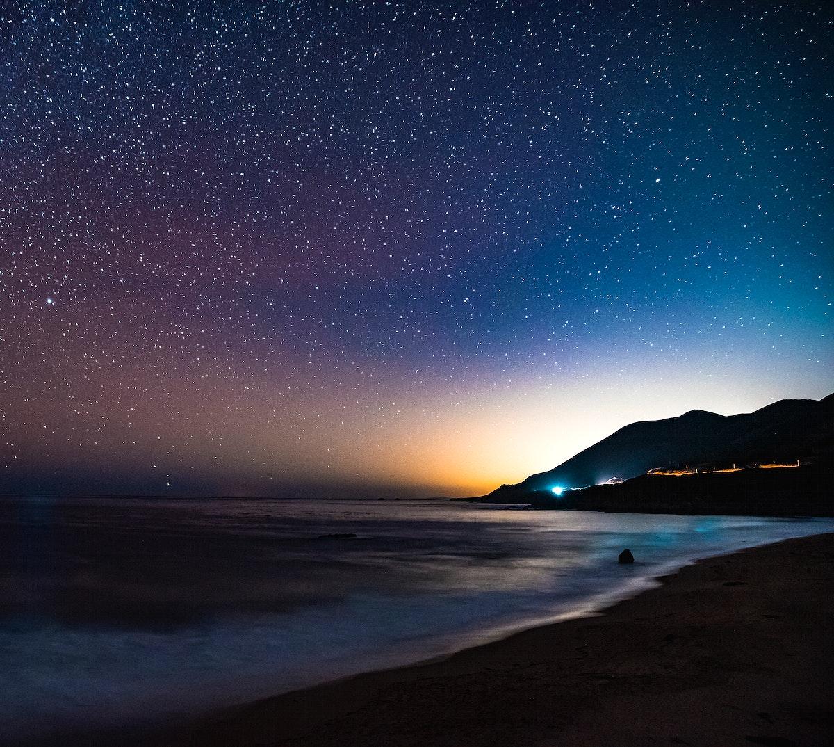 Starry night in Garrapata Beach, California, USA