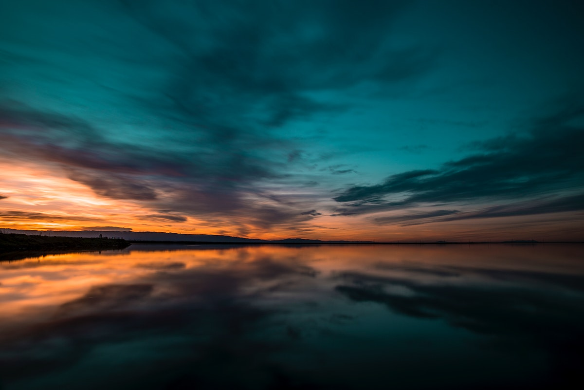 Reflection of the colorful sky in the water