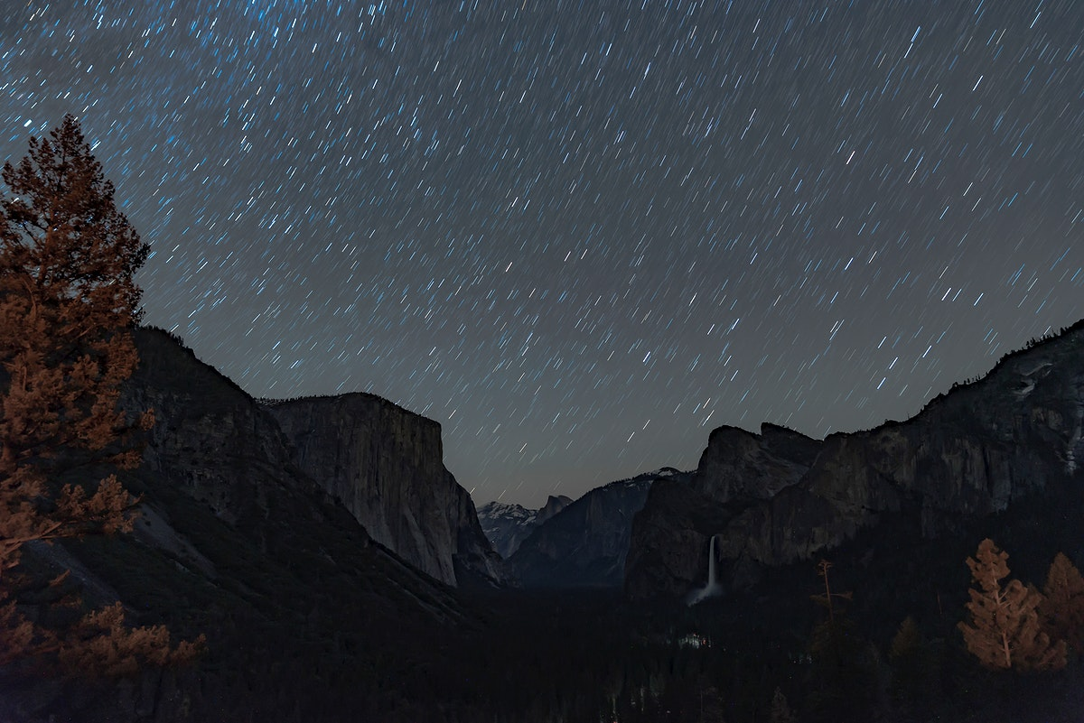 Starry night in Yosemite Valley California, USA
