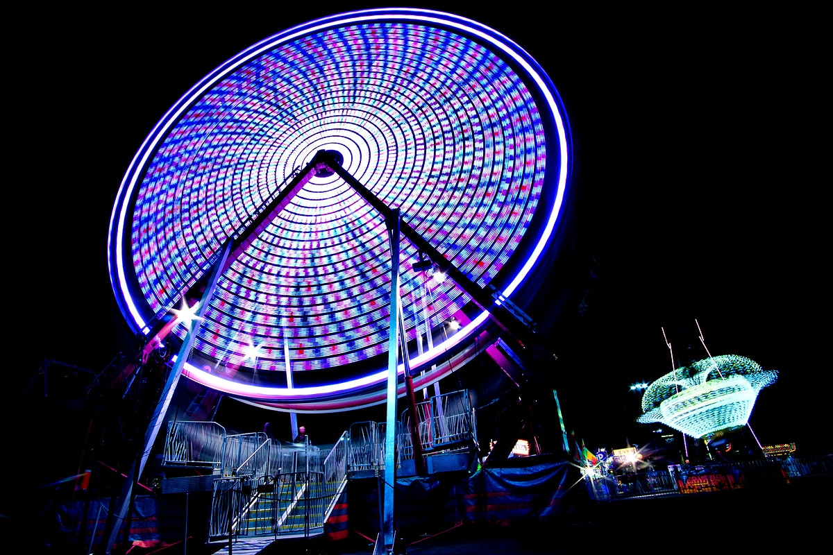 Long exposure scene of a ferris wheel