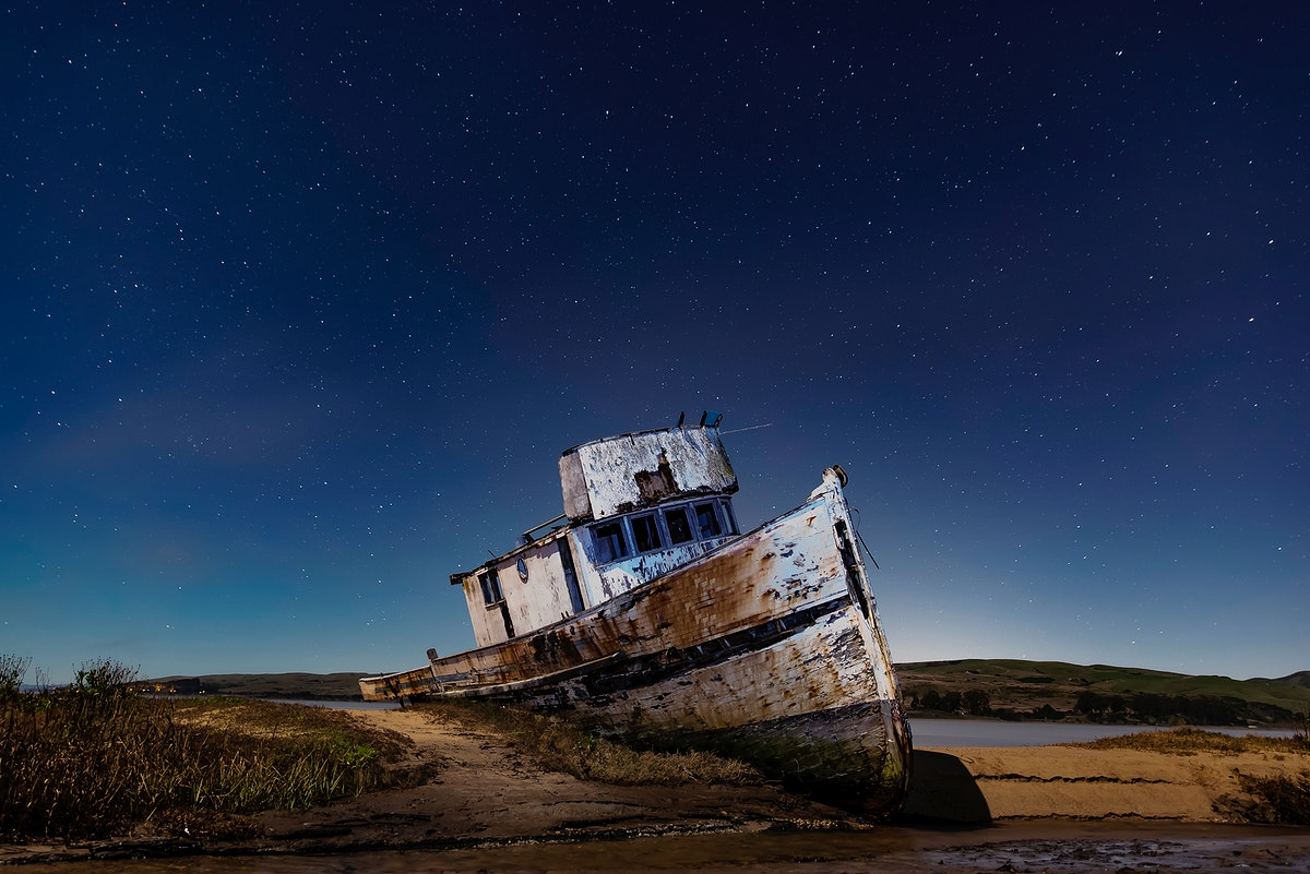 Abandoned ship at beach Inverness, United States