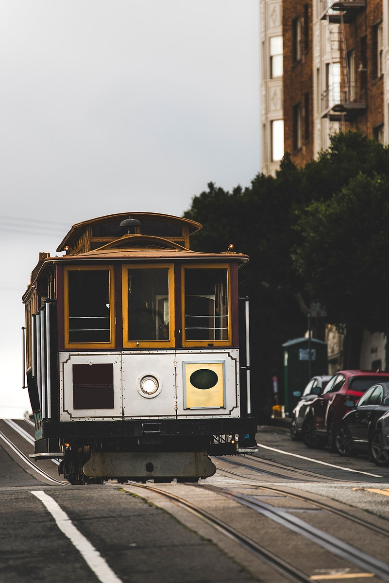 Cable car on Lombard Street in San Francisco, USA