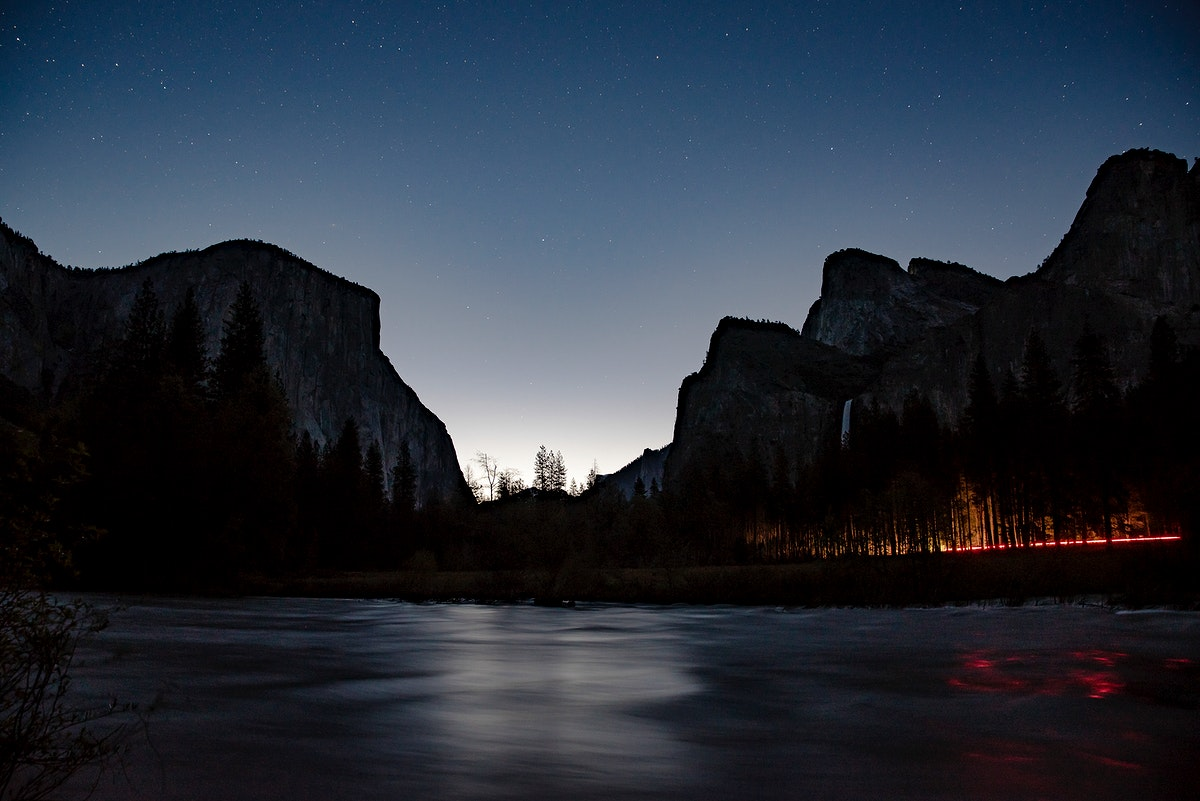 Silhouette of mountains in the night