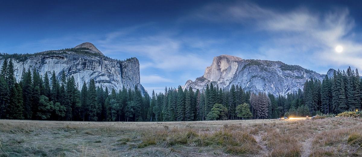 Moonlit Panoramic view of Yosemite Valley, United States