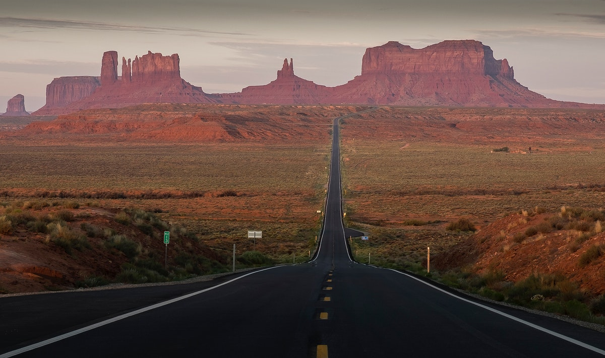 Road leading to The Monument Valley, United States