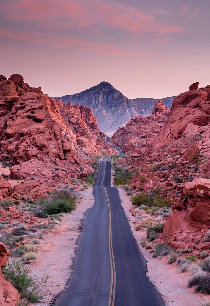 Road through Red Rocks in Nevada, United States