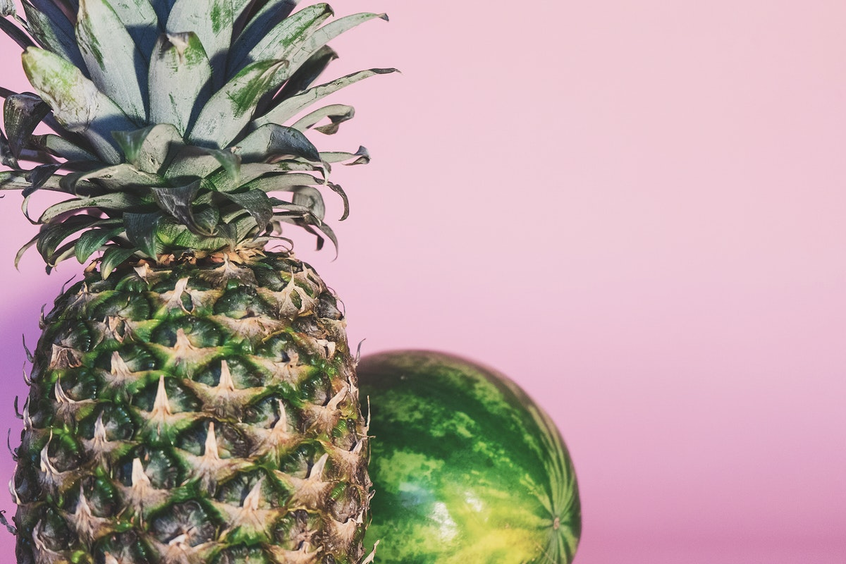 Pineapple and a watermelon