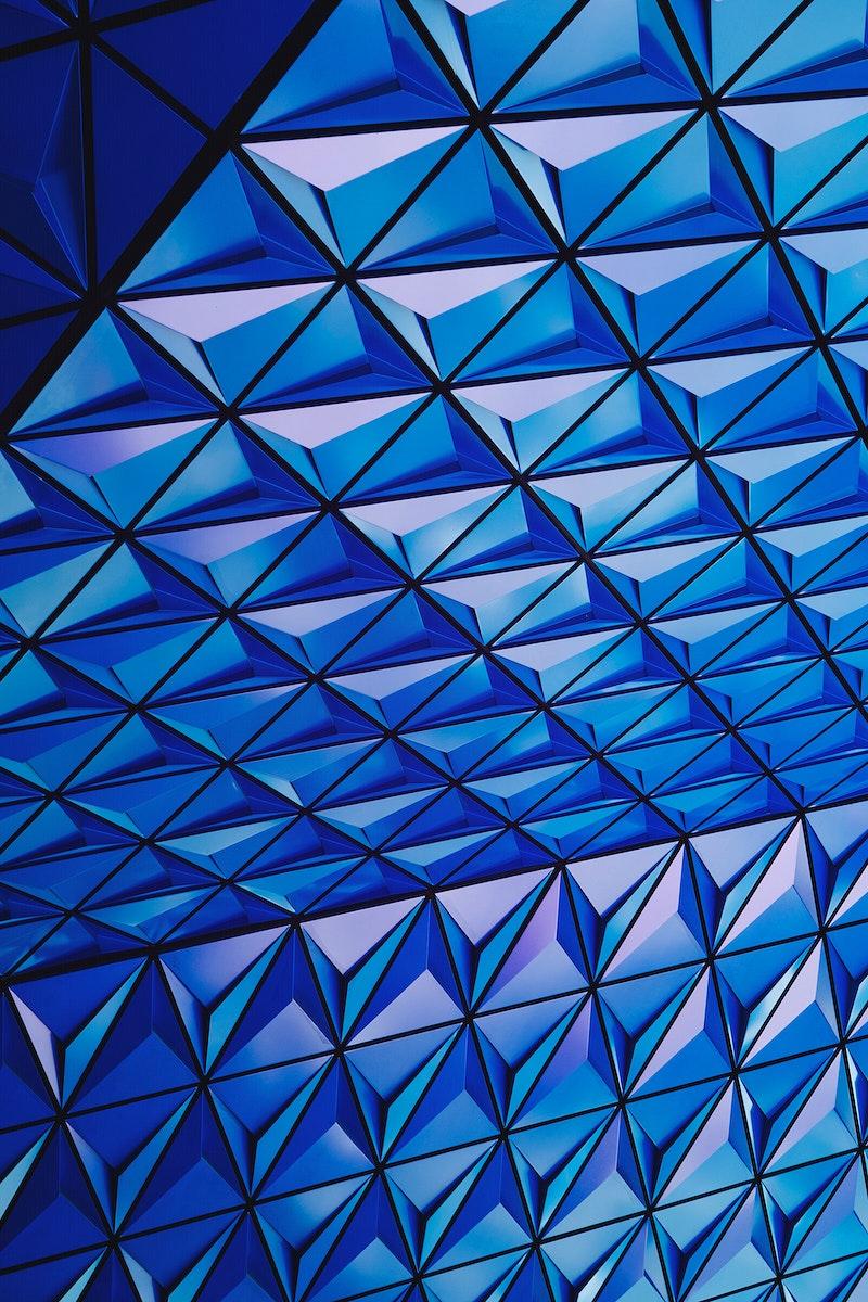 Blue geometric ceiling pattern of Ryerson University in Toronto Canada