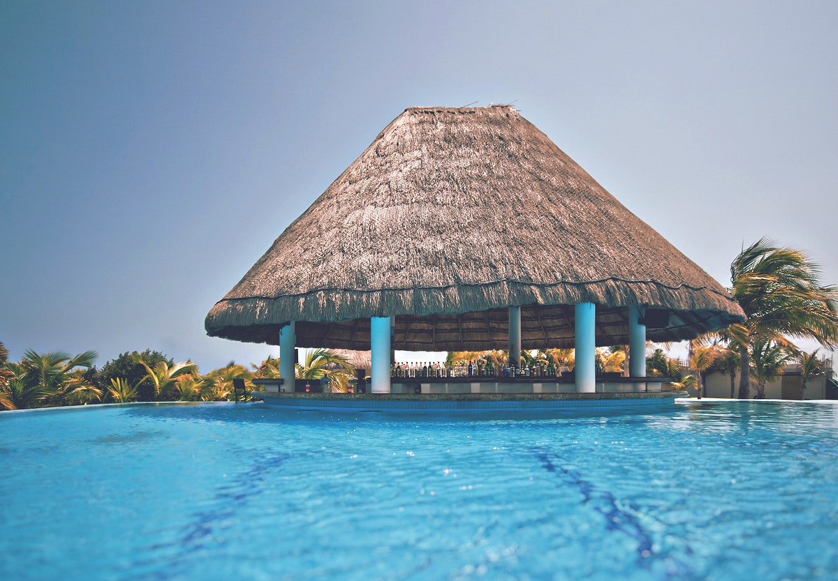 Tropical island resort with a swimming pool
